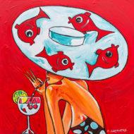 Ronde des poissons 100 x 100 cm