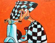 Scoot à damier 116 x89 cm