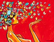Envi de papillonner 130 x 97 cm (Vendu)
