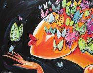 Baiser papillons 165 x 130 cm