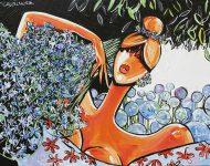 Cueillette des agapanthe 130 x 89 130 x 97 cm